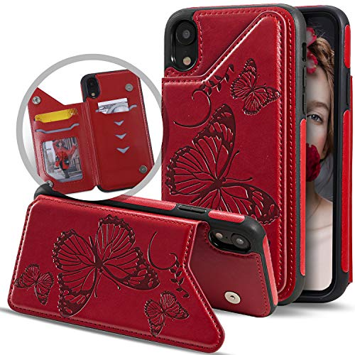 Vodico iPhone XR Wallet Case for Women/Girl with Card Holder, Cute Slim Thin Embossed Butterfly Leather Folio Flip Girly Wallet Purse Magnetic Closure Full Body Protective Stand Phone Cover (Red)