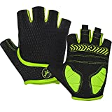 MOREOK Cycling Gloves Bike Gloves-[5MM Shock-Absorbing SBR Gel] [Full Palm Protection][Ultra Ventilated] Bicycle Gloves-for Cycling,Training,Workout,Sports-for Men/Women AK098-Yellow-L