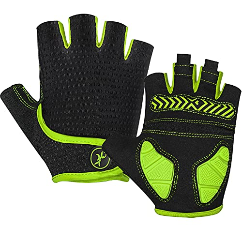 MOREOK Mens Cycling Gloves,Half Finger Biking Glove MTB DH Road Bicycle Gloves Gel Pad Shock-Absorbing Anti-Slip Breathable Motorcycle Mountain Bike Gloves Unisex Women AK098-Yellow-XL