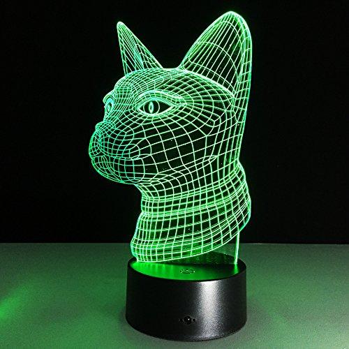 Lámpara de mesa 3D Regalo de juguete para niños Estatua de gato Luz nocturna Sensor de interior Iluminación nocturna LED Cambio de color Amantes de gatos Recuerdo