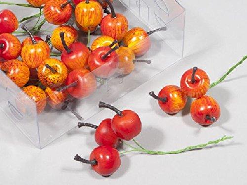 Schreiber Deko Äpfel angedrahtet / 36 Stück/orange-rot/Ø 2,5 cm/künstliche Äpfel