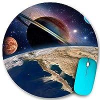 KAPANOU ラウンドマウスパッド カスタムマウスパッド、占星術天文学地球空間太陽系作成土星惑星天の川銀河、PC ノートパソコン オフィス用 円形 デスクマット 、ズされたゲーミングマウスパッド 滑り止め 耐久性が 200mmx200mm