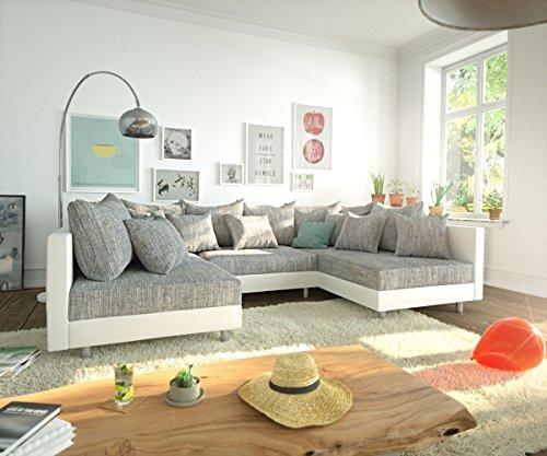 DELIFE Couch Clovis Weiss Hellgrau Wohnlandschaft Modulares Sofa