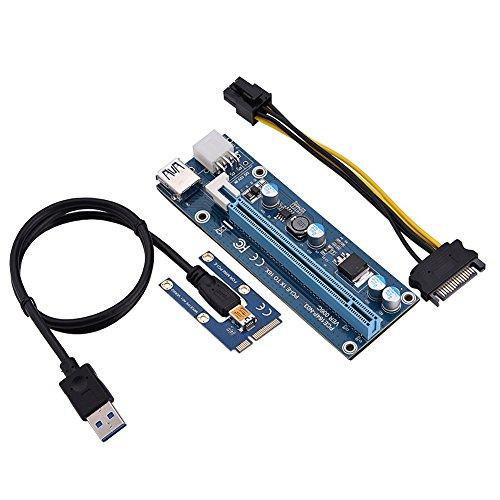 Oumij Mini PCI-E auf PCI Express16x Extender Riser Adapter Mit SATA-Netzkabel für Grafikkarten-Mining, 4 Festkörperkondensatoren, 6-polige Schnittstelle