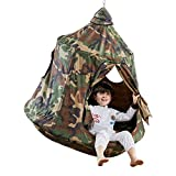 TopEva Waterproof Hanging Tree Ceiling Hammock Tent Kids Sky Castle Paradise with Led Decoration Lights (Army Green)