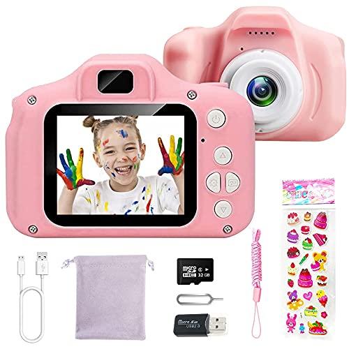 CHENAN Cámara Digital para Niños 1080P Cámara de Fotos para Niños Juguete Regalos Ideales para Niños Niñas de 3-10 Años con Tarjeta de Memoria Micro SD 32GB (Rosa)