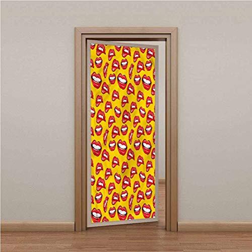 Door Stickers Door Decal 3D Decor Door Mural, KissCartoon Pop Art Pattern Lips, Self Adhesive Peel and Stick Removable Wallpaper Wall Decal, W30.3 x L78.7 Inch