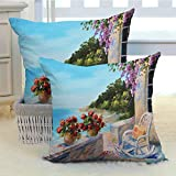 DuckBaby Seascape Silky Pillowcase Super Soft and Luxurious Pillowcase Sea View Balcony with Cosy Rocking Chair Flowers in Summer Sky Oil Painting Style Machine Washable W18 x L18 inch x 2 Multicolor