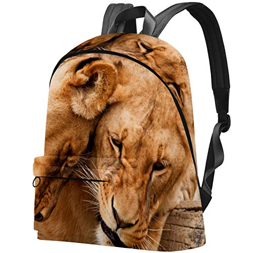 Africa Lions Peace, Classic Large School Backpack for Travel, College Big Bookbag Canvas High School Daypack Rucksack Computer Bag