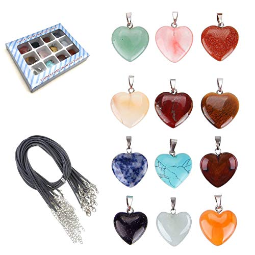 Tpocean Heart Stone Necklace Healing Chakra Crystal Stones for Jewelry Making Charms with 18 Inch Black Leather Cord/Alloy Chain for Women Girls (12PCS)