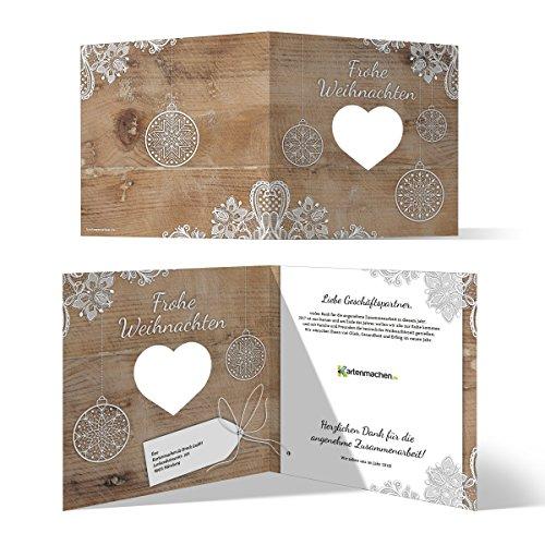 10 x Lasergeschnittene Weihnachtskarten Firmen Geschäftlich Business Grußkarten Weihnachten - Rustikal mit Logo