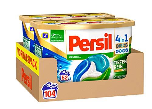 Persil 4in1 DISCS Universal, Vollwaschmittel, 104 (2 x 52) Waschladungen für Fleckenentfernung, Leuchtkraft, Frische, Faserpflege und hygienisch reine Wäsche