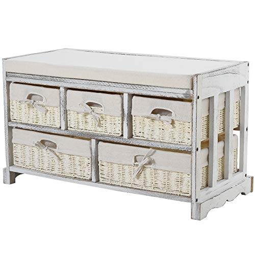 HOMCOM Wood Shoe Storage Bench with Comfortable Sponge/Linen Sitting Surface & 5 Variously Sized Baskets, Cream White