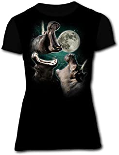 Womens 3 Hippo Moon Summer Casual Short Sleeve Tee Creative 3D Printed Graphic Hipster Design T Shirt