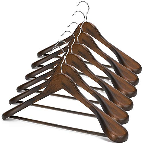 JS HANGER Wooden Suit Hangers, 6 Pack Extra-Wide Shoulder Wood Coat Hangers with Non Slip Pant Bar, Extra Smooth and Splinter Free Retro Finish