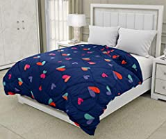 "COZY FURNISH Microfiber - AC Comforter Quilt/Duvet for All Seasons - Printed Comforter - Reversible Comforter (Blue, 90""..."