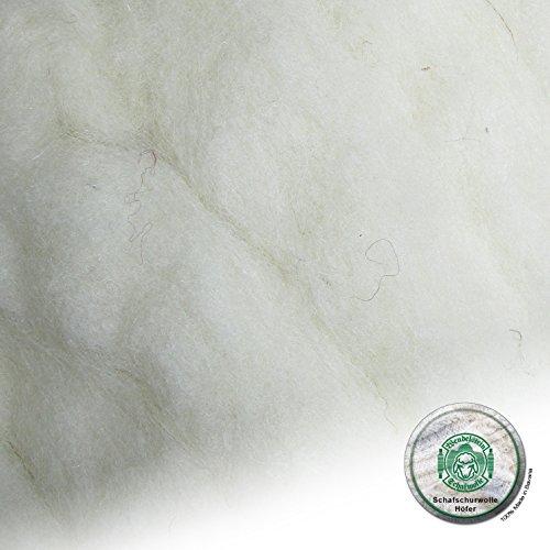 Schafwolle Höfer Filzwolle Bastelwolle Märchenwolle ungefärbt Natur 100 Gramm Farbe N1 weiß