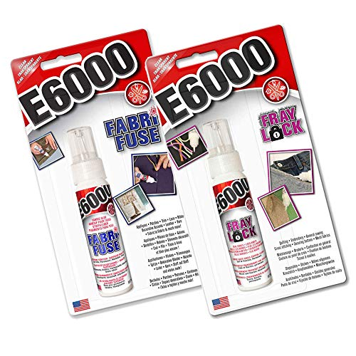 E6000 Textilkleber Fabri-Sicherung & Fray Lock Combo Klarer Klebstoff für Jeansleder Spitzenband Filz Gummi & Dichtungen Knoten
