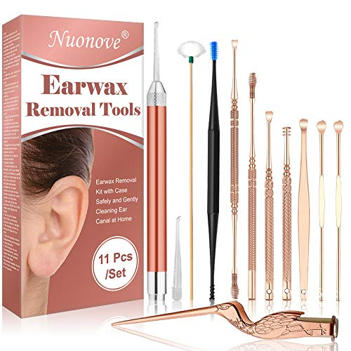 Earwax Removal Kit, Earwax Removal Tool, Ear Wax Remover, Ear Cleaner Tool Set, Earwax Removal Kit with a Cleaning Brush and Storage Box, 11 Pcs