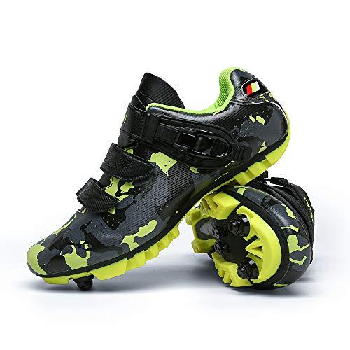 Zapatillas de Bicicleta Unisex con Cerradura, Zapatillas de Bicicleta de Montaña Transpirables, Zapatillas Deportivas Antideslizantes Resistentes Al Desgaste Profesionales(Size:47,Color:amarillo)