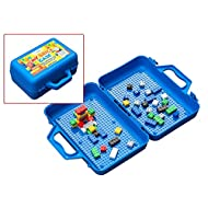ModFamily My Brick Case - Portable Storage Box for Kids Building Bricks - Comes with 50 Blocks and a Play Surface for Storing and Building Bricks On-The-Go -Compatible with Major Brands