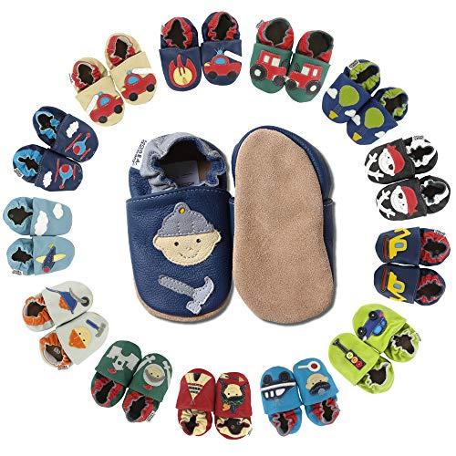 HOBEA-Germany Baby Krabbelschuhe Jungen, Kinderhausschuhe Jungen, Lederschuhe, Schuhgröße:24/25 (24-30 Monate), Modell Schuhe:Bauarbeiter dunkelblau-grau