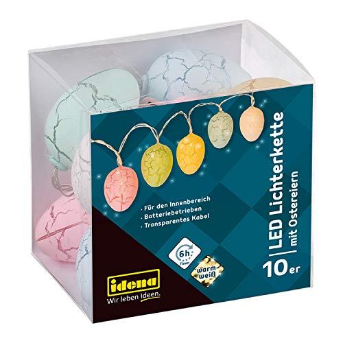 Idena 30132 - Lichterkette mit 10 LED warmweiß und Eiern in Pastellfarben, batteriebetrieben, mit 6 Stunden Timer Funktion, für Ostern, Frühling, Deko und Sträuße, ca. 1,65 m