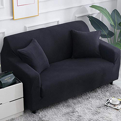 3-Piece Universal Stretch Sofa Cover 57-72 Inch with 2 Cushion Covers, Polyester Spandex Fabric 2 Seater Slipcover Couch Covers, Furniture Protector for Couch Cover (Black,2 Seater/Sofa)