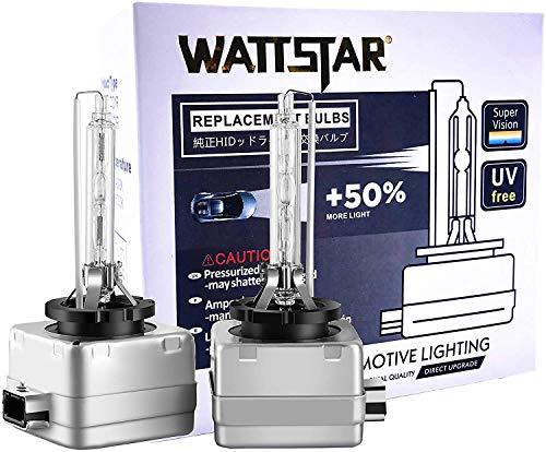 Wattstar D1S 4300K 35W HID Bombilla para faros delanteros, Bombillas para faros delanteros de xenón blanco cálido, IP68 a prueba de agua, Paquete de 2.…