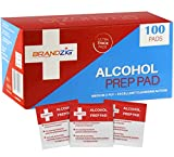Alcohol Prep Pads (100-Pack) | Thick 2-Ply Antiseptic/Sanitizing Isopropyl Medical Wipes | Individually Wrapped Alcohol Cleansing Swabs, Diabetic Supplies, Hospitals