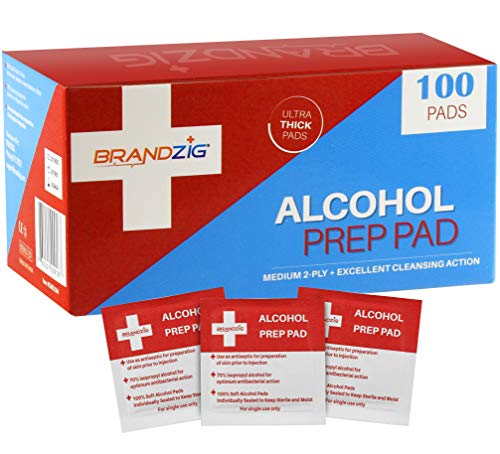 Alcohol Prep Pads (100-Pack) | Thick 2-Ply Sanitizing Isopropyl Medical Wipes | Individually Wrapped Alcohol Cleansing Swabs , Diabetic Supplies, Hospitals