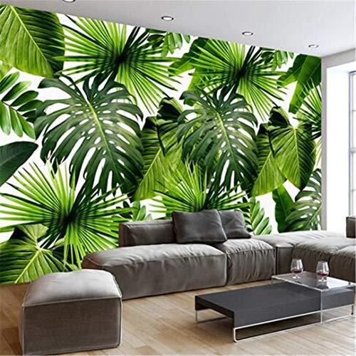 3D Große Benutzerdefinierte Wallpaper Benutzerdefinierte 3D Wandbild Tapete Südostasien Tropischen Regenwald Bananenblatt Foto Wandmalerei Vlies Hintergrund Moderne Tapete, 300 * 210 Cm