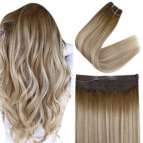 Easyouth Halo Hair Extension Cheveux Naturel Fil Invisible Couleur Mélange Brun Plus Foncé Brun Cendré avec Extension Easy Fit Blonde Moyenne 20 Pouce