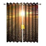 Dfttg Cortinas opacas, bloquean la luz, decorativas y opacas, juego de 2 unidades, estilo natural, estilo C, 132 x 160 cm (alto x ancho)