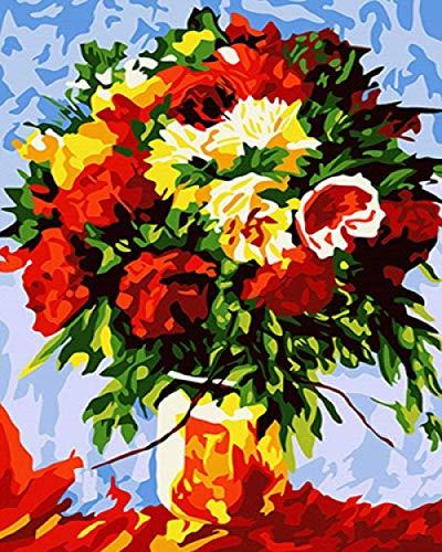 Schilderen op cijfers met bloemen in vaas, handgeschilderde afbeeldingen op canvas, kleur op cijfers, moderne decoratie voor thuis Gift40 x 50 cm