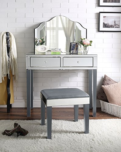 Inspired Home Juliet Modern Contemporary Mirrored 2-Drawer Vanity Set (3-Piece Set, Grey)
