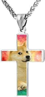 LUQeo Cross Necklace Doge Christian Crucifix Necklace Cool Jesus Jewelry Pendant