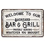 Personalized Backyard Bar and Grill Sign Custom Name Vintage Distressed Look Metal Wood Art Tin Painting Welcome Signs Home Kitchen Bar Coffee Shop Decor