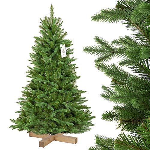 FairyTrees künstlicher Weihnachtsbaum NORDMANNTANNE Edel, Spritzguss & PVC, Ständer aus Holz, 150cm