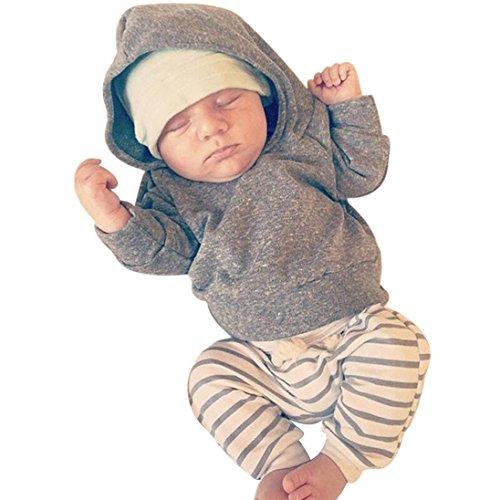 squarex squarex Baby-Kleidungsset mit Kapuze und gestreifter Hose, Leggings, für Jungen und Mädchen Gr. 62, grau
