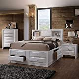 Full Bed with Storage, HABITRIO Solid Wood Full Size Bed Frame with Headboard (2 Bookcase, 2 Drawers), Footboard (4 Drawers), Rail with 2 Drawers, Wooden Slat, No Box Spring Needed, White