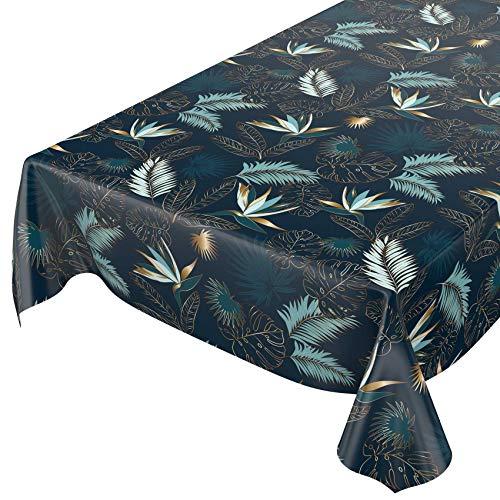 ANRO Wachstuchtischdecke abwaschbar Garten Tischdecke Wachstuch Rund Oval Eckig Indoor Outdoor Blätter Gold Blau 220x140cm