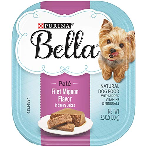 Purina Bella Natural Small Breed Pate Wet Dog Food, Filet Mignon Flavor in Savory Juices - (12) 3.5 oz. Trays