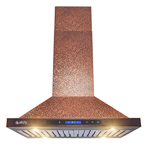 Akdy Island Mount Range Hood Embossed Copper Hood Fan
