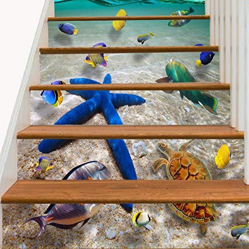 ZUSFUL 6 Pcs 100x18 cm 3D Pegatinas de Escalera Mural de Escaleras Impermeables Calcomanías Ecológicas PVC Autoadhesivas para Escalera para Decoración del Hogar,C