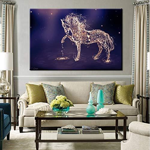 Sanzangtang Moderne abstracte posters en prints muurkunst canvasfoto waterpaard schilderij woonkamer wanddecoratie zonder lijst