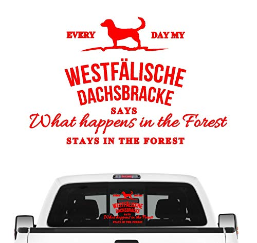 Siviwonder Westfälische Dachsbracke Vintage Hundeaufkleber Hundemotiv Auto Folie Jagdhund Farbe Rot, Größe 30cm