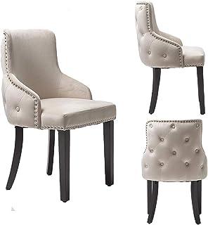 PS Global Ensemble de 2 chaises de salle à manger de luxe Grace, clous chromés faciles à assembler, dossier capitonné, dos...