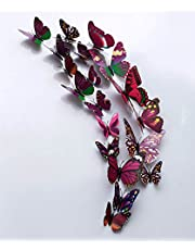 Rangoli Plastic 3D Butterfly Magnet 13 or 15cm Purple with Magnet Pack of 12