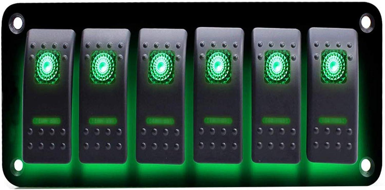 Waterproof 6 Gang Dual LED Rocker Switch Control Panel Circuit Breaker 12V 24V for Vehicle Boat RV Truck Marine